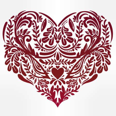 encaje: Corazón - diseño de encaje adornado decorativos rústicos. Vectores