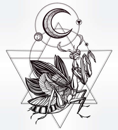 mantis: Paraying Mantis iin sacred sign. Vintage style tattoo vector art. Isolated vector illustration. Print design. Linear decoration.