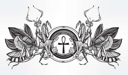 Mantis beetle with ankh -symbol of power and violence. Vintage style tattoo vector art. Isolated vector illustration. Print design. Linear decoration. Illustration