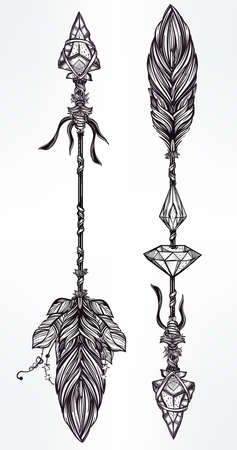 diamonds isolated: Ethnic decorative arrows set in linear tattoo style.