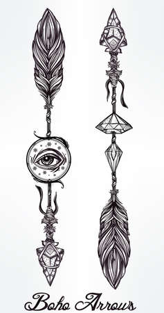 Ethnic boho arrows set in tattoo style.