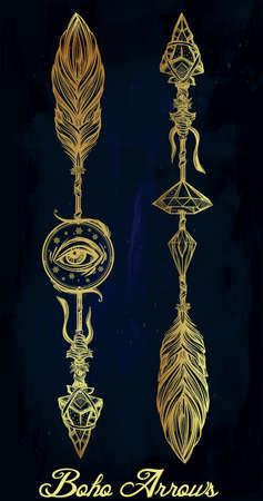 collection: boho étnico flechas decorativas fijadas en estilo del tatuaje lineal. Vectores