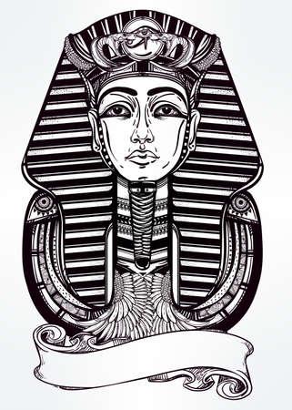 horus: Dibujado a mano ilustraci�n vectorial de arte del tatuaje del vintage del fara�n con el lugar para su texto.