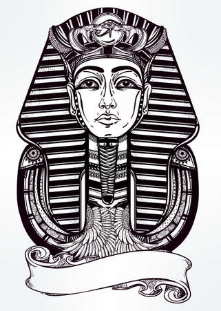 horus: Hand-drawn vintage tattoo art vector illustration of pharaoh with place for your text. Illustration