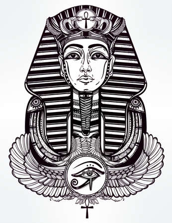 horus: Hand-drawn vintage tattoo art vector illustration of pharaoh with winged Ankh. Illustration