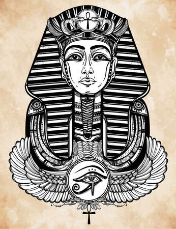 egyptian gods: Hand-drawn vintage tattoo art vector illustration of pharaoh with winged Ankh. Illustration