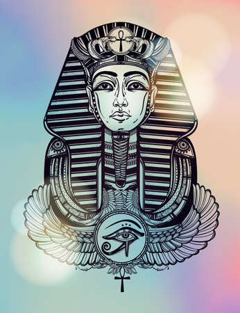 winged: Hand-drawn vintage tattoo art vector illustration of pharaoh with winged Ankh. Illustration