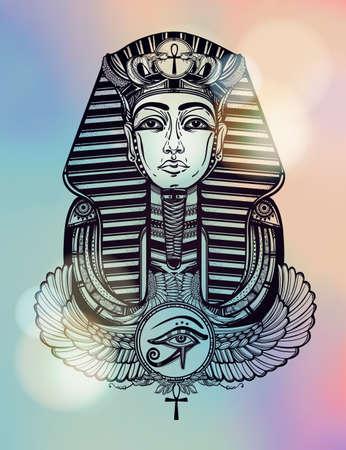ankh: Hand-drawn vintage tattoo art vector illustration of pharaoh with winged Ankh. Illustration