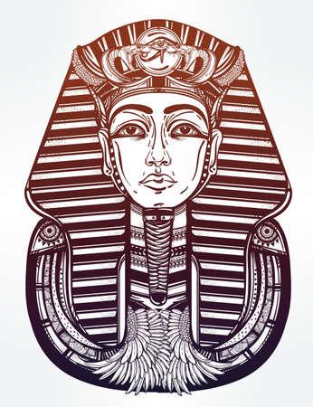 tutankhamen: Hand-drawn vintage tattoo art vector illustration of pharaoh.
