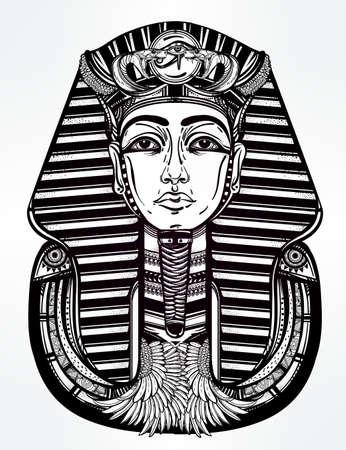 ankh: Hand-drawn vintage tattoo art vector illustration of pharaoh.