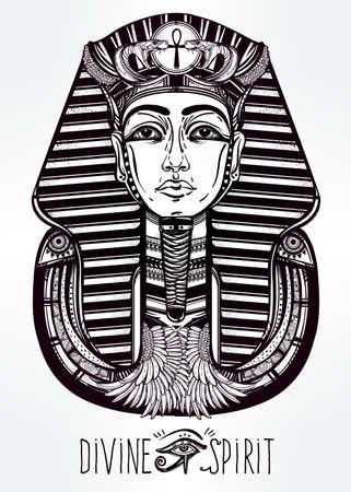 egyptian pyramids: Hand-drawn vintage tattoo art vector illustration of pharaoh.
