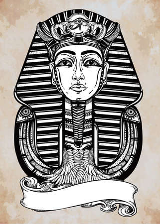 Hand-drawn vintage tattoo art vector illustration of pharaoh with place for your text. Illustration