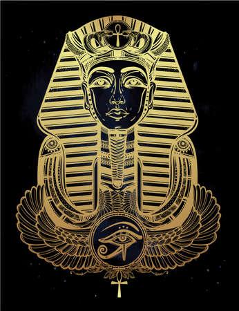 ojo de horus: Dibujado a mano ilustración vectorial de arte del tatuaje del vintage del faraón con alas Ankh.
