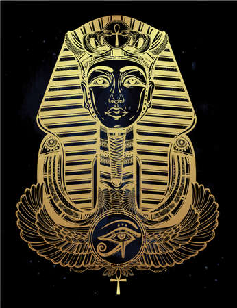 eye drawing: Hand-drawn vintage tattoo art vector illustration of pharaoh with winged Ankh. Illustration