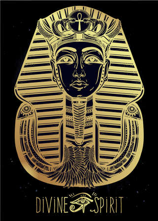 ojo de horus: vendimia tatuaje ilustración, vector dibujado a mano del faraón.