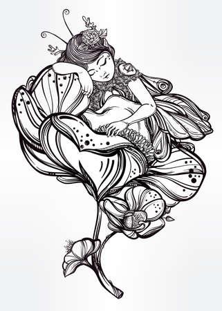 donna farfalla: Disegnata a mano belle opere d'arte di un sonno fata alata in un fiore. libri Alchimia, religione, spiritualità, occultismo, l'arte del tatuaggio, coloranti. illustrazione vettoriale isolato. Vettoriali