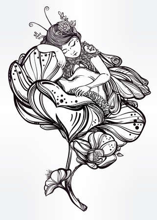 tattoo girl: Hand drawn beautiful artwork of a winged fairy sleeping in a flower.  Alchemy, religion, spirituality, occultism, tattoo art, coloring books. Isolated vector illustration.
