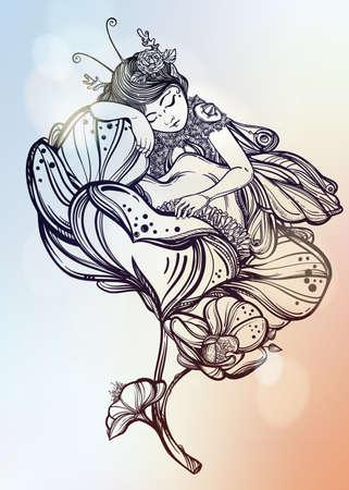 mariposas volando: Dibujado a mano hermosa obra de un hada con alas de dormir en una flor. libros de alquimia, religi�n, espiritualidad, ocultismo, arte del tatuaje, colorantes. ilustraci�n del vector.