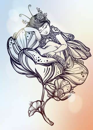 nymph: Hand drawn beautiful artwork of a winged fairy sleeping in a flower.  Alchemy, religion, spirituality, occultism, tattoo art, coloring books. Isolated vector illustration.