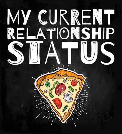 hombre caricatura: estilo de pizza divertida cartel del doodle con el lema pegadizo ir�nico. ilustraci�n del vector. Vectores