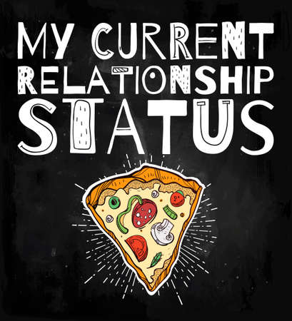 funny love: Funny Pizza poster doodle style with ironic catchy slogan. Isolated vector illustration.