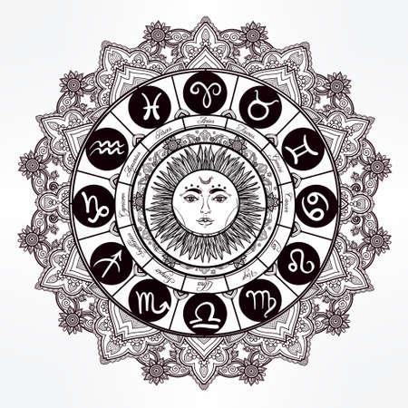 dessin noir et blanc: Hand drawn bel art romantique ligne de jeu du zodiaque avec le soleil dans le milieu. Vector illustration isol�. conception ethnique, symbole de horoscope mystique pour votre usage. Id�al pour l'art du tatouage, livres � colorier.