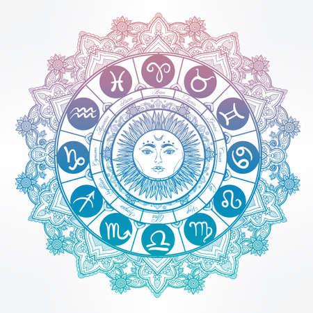 signes du zodiaque: Hand drawn bel art romantique ligne de jeu du zodiaque avec le soleil dans le milieu. Vector illustration isolé. conception ethnique, symbole de horoscope mystique pour votre usage. Idéal pour l'art du tatouage, livres à colorier.