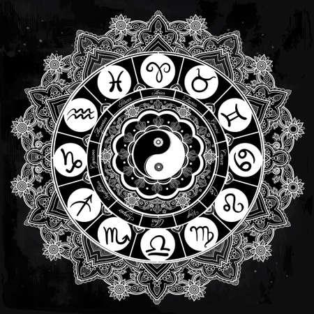 yin y yan: Dibujado a mano la línea de arte hermosa romántica del conjunto del zodiaco. aislado ilustración vectorial. Diseño étnico, símbolo del horóscopo mística para su uso. Ideal para el arte del tatuaje, libros para colorear.