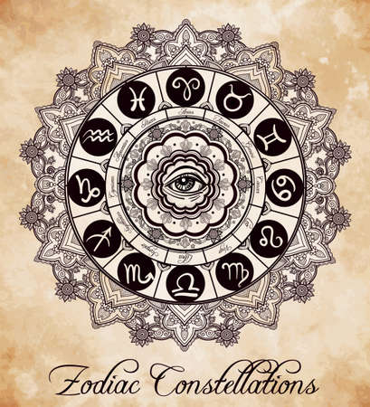 old drawing: Hand drawn romantic beautiful line art of zodiac set with eye in the middle. Vector illustration isolated. Ethnic design, mystic horoscope symbol for your use. Ideal for tattoo art, coloring books.