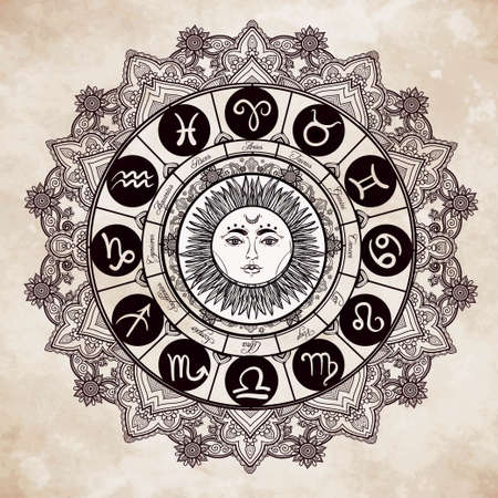 old paper: Hand drawn romantic beautiful line art of zodiac set with sun in the middle. Vector illustration isolated. Ethnic design, mystic horoscope symbol for your use. Ideal for tattoo art, coloring books.