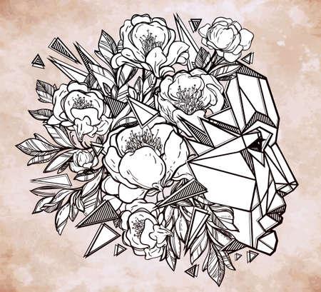 mente: Línea de arte de una hermosa mente metáfora para la imaginación y el pensamiento creativo. Diseño del tatuaje y elementos. ilustración del vector. Vectores
