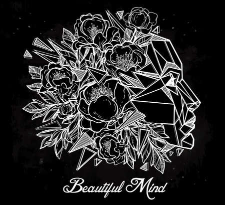 flower head: Line art of a beautiful mind metaphor for imagination and creative thinking. Design and tattoo elements. Isolated vector illustration. Illustration