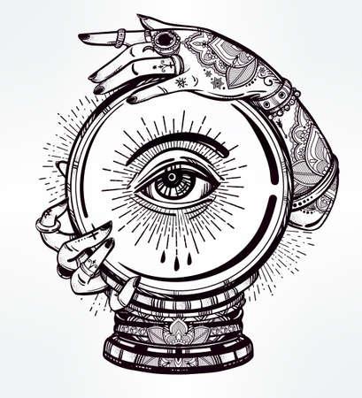 psiquico: Dibujado a mano del arte carne romántica de una bola de cristal en las manos videntes con los ojos en él. aislado ilustración vectorial. diseño del tatuaje, símbolo mágico místico para su uso.