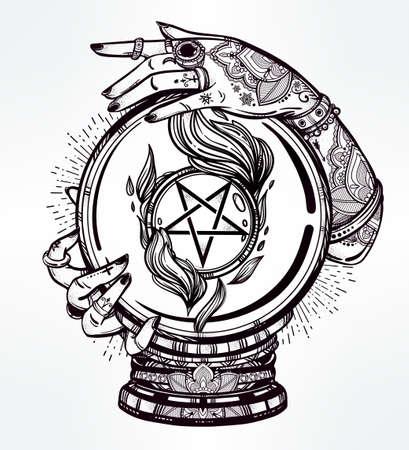 bonne aventure: Hand drawn art chair romantique d'une boule de cristal dans la main avec les médiums occulte pentagramme inversé. Vector illustration isolé. conception de tatouage, symbole de la magie mystique pour votre usage. Illustration