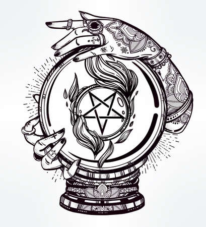 pentacle: Hand drawn romantic flesh art of a Crystal Ball in psychics hands with occult reversed pentagram. Vector illustration isolated. Tattoo design, mystic magic symbol for your use. Illustration