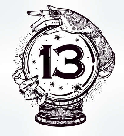 psiquico: Dibujado a mano del arte carne romántica de una bola de cristal en las manos psíquicos con el número trece en ella. aislado ilustración vectorial. diseño del tatuaje, símbolo mágico místico para su uso.