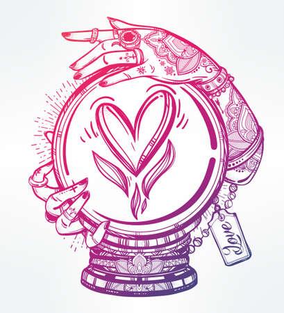 bonne aventure: Hand drawn art chair romantique d'une boule de cristal dans les médiums mains avec le coeur en elle. Vector illustration isolé. conception de tatouage, symbole de la magie mystique pour votre usage. Illustration