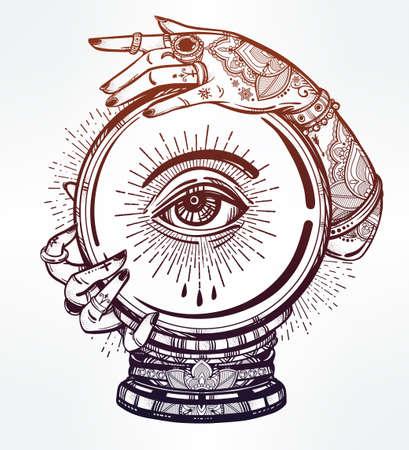 magie: Hand drawn art chair romantique d'une boule de cristal dans la main avec les médiums oeil dedans. Vector illustration isolé. conception de tatouage, symbole de la magie mystique pour votre usage. Illustration