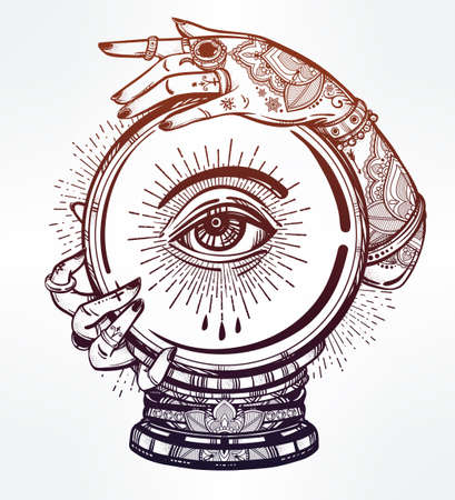 fortune concept: Hand drawn romantic flesh art of a Crystal Ball in psychics hands with eye in it. Vector illustration isolated. Tattoo design, mystic magic symbol for your use.