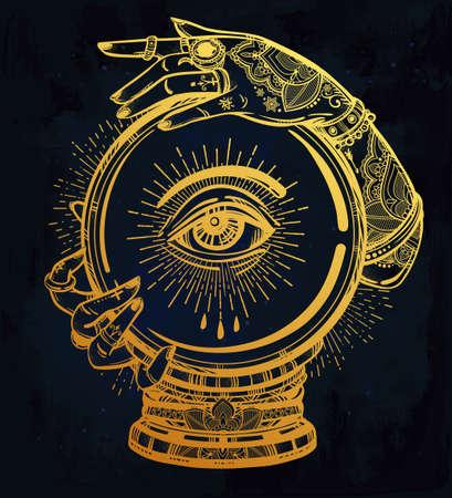 psychic: Dibujado a mano del arte carne romántica de una bola de cristal en las manos videntes con los ojos en él. aislado ilustración vectorial. diseño del tatuaje, símbolo mágico místico para su uso.
