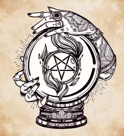 psychic: Hand drawn romantic flesh art of a Crystal Ball in psychics hands with occult reversed pentagram. Vector illustration isolated. Tattoo design, mystic magic symbol for your use. Illustration