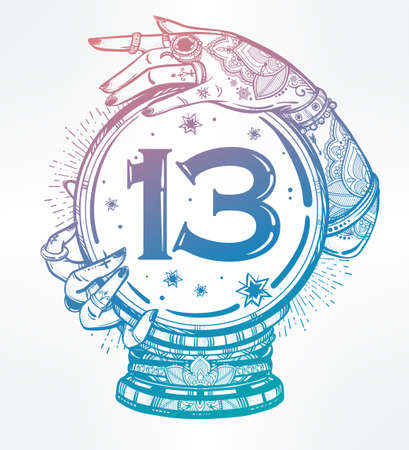 13: Hand drawn romantic flesh art of a Crystal Ball in psychics hands with number thirteen in it. Vector illustration isolated. Tattoo design, mystic magic symbol for your use.