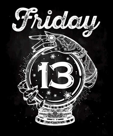 13th: Friday 13th numerals and a Crystal Ball in psychics hands. Vector illustration isolated. Tattoo design, mystic magic poster for your use.