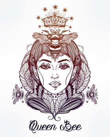 abeja reina: Dibujado a mano ilustraciones hermosas de la abeja reina PORTRIAT como hembra. libros de fantasía, religión, espiritualidad, ocultismo, arte del tatuaje, colorantes. ilustración del vector.