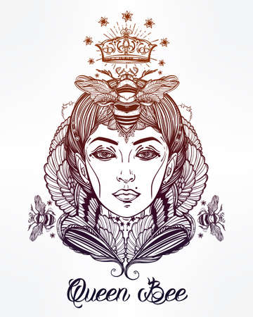 fantasy: Hand drawn beautiful artwork of Queen Bee portriat as a female. Fantasy, religion, spirituality, occultism, tattoo art, coloring books. Isolated vector illustration. Illustration