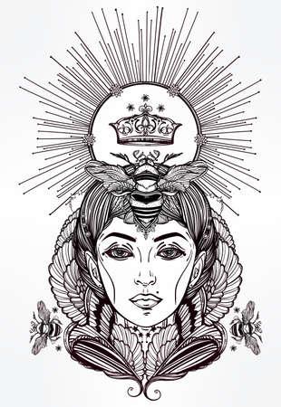 queen bee: Dibujado a mano ilustraciones hermosas de la abeja reina PORTRIAT como hembra. libros de fantas�a, religi�n, espiritualidad, ocultismo, arte del tatuaje, colorantes. ilustraci�n del vector.
