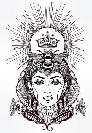 books isolated: Hand drawn beautiful artwork of Queen Bee portriat as a female. Fantasy, religion, spirituality, occultism, tattoo art, coloring books. Isolated vector illustration. Illustration