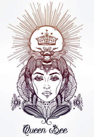occultism: Hand drawn beautiful artwork of Queen Bee portriat as a female. Fantasy, religion, spirituality, occultism, tattoo art, coloring books. Isolated vector illustration. Illustration