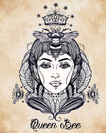 femme dessin: dessiné à la main belle illustration de Queen Bee Portriat en tant que femme. livres Fantastique, religion, spiritualité, occultisme, art du tatouage, colorants. Isolated illustration vectorielle. Illustration