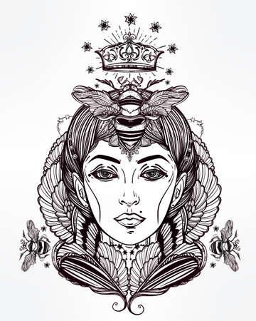 corona reina: Dibujado a mano ilustraciones hermosas de la abeja reina PORTRIAT como hembra. libros de fantasía, religión, espiritualidad, ocultismo, arte del tatuaje, colorantes. ilustración del vector.